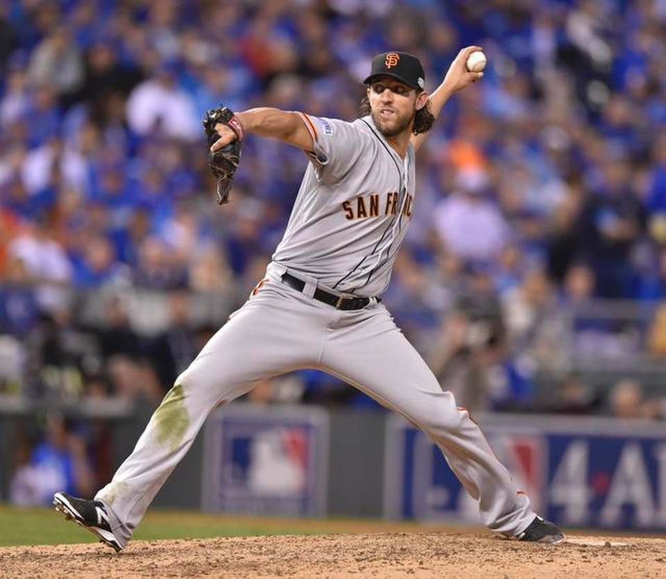 Bumgarner hurls a pitch during game 1 of the World Series. Bumgarner got the W in the 7-1 Giants win. (John Sleezer / The Kansas City Star)